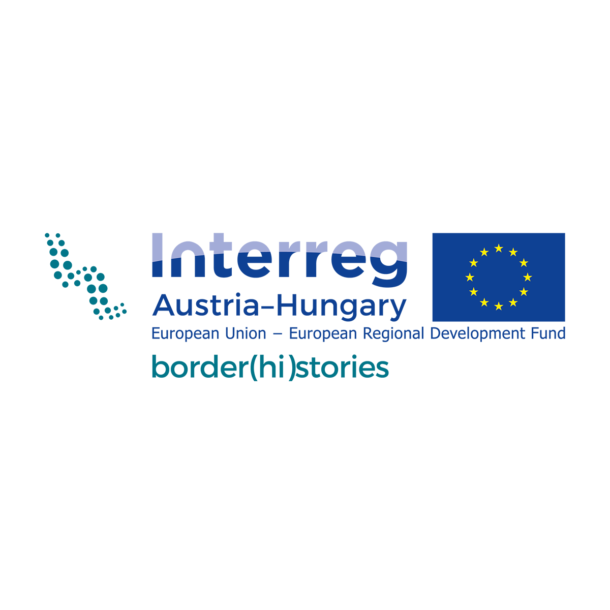 Logo Interreg Austria - Hungary. European Union - European Regional Development Fund. border(hi)stories), rechts davon blaue EU-Flagge