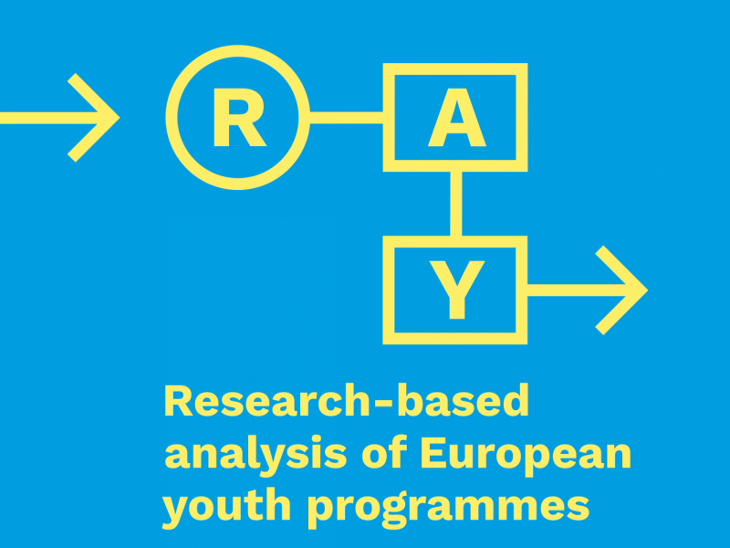 RAY-Logo in Gelb auf blauem Grund. Unterschrift: Research-based analysis of European youth programmes
